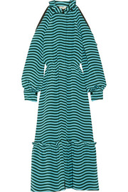 Cutout striped silk-cady midi dress