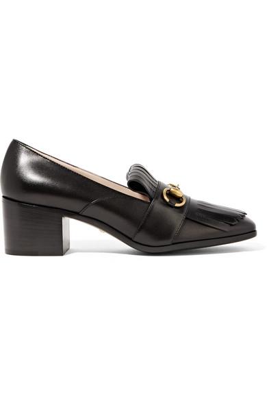 Gucci - Horsebit-detailed Fringed Leather Pumps - Black