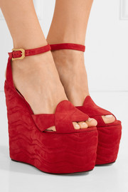 Gucci Quilted suede wedge sandals