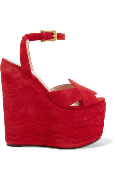 gucci female 250960 gucci quilted suede wedge sandals red
