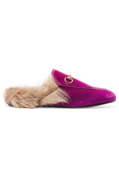 Gucci - Horsebit-detailed Shearling-lined Velvet Slippers - Fuchsia