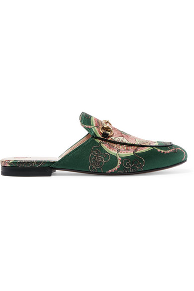 Gucci - Princetown Horsebit-detailed Printed Satin Slippers - Green