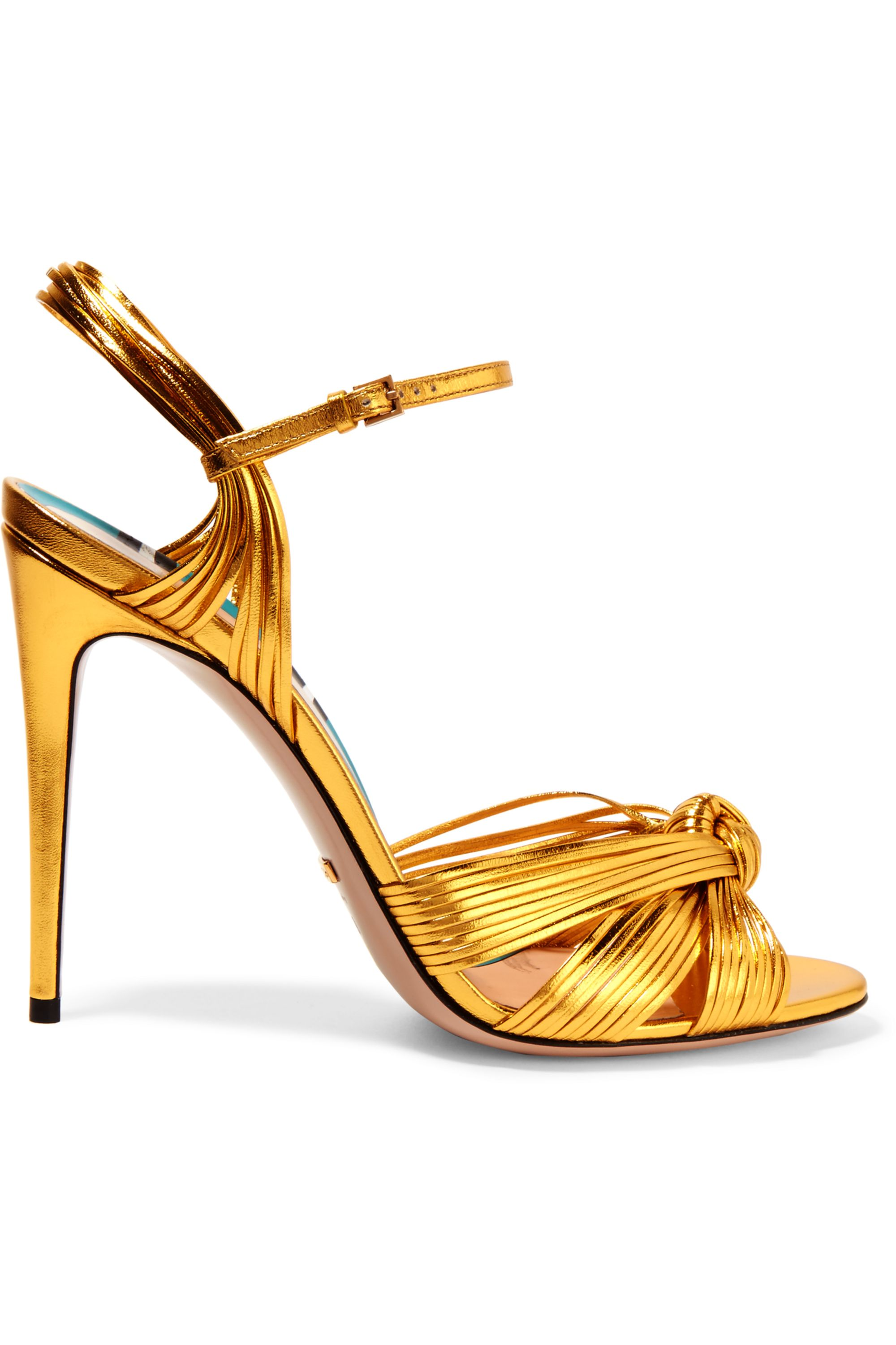 Gold Metallic leather sandals   Gucci