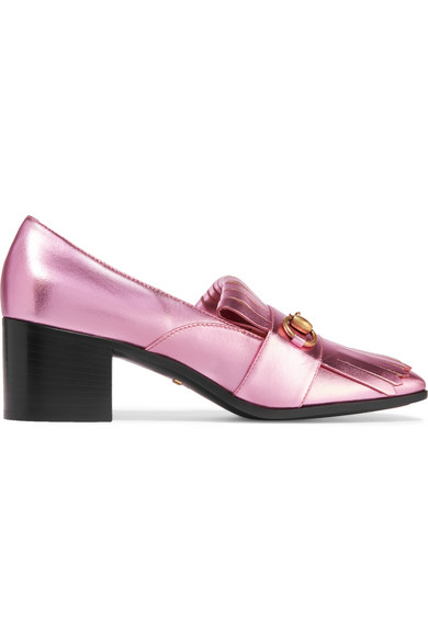 Gucci - Horsebit-detailed Fringed Metallic Leather Pumps - Pink