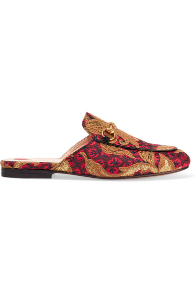 Gucci - Princetown Horsebit-detailed Jacquard Slippers - Red