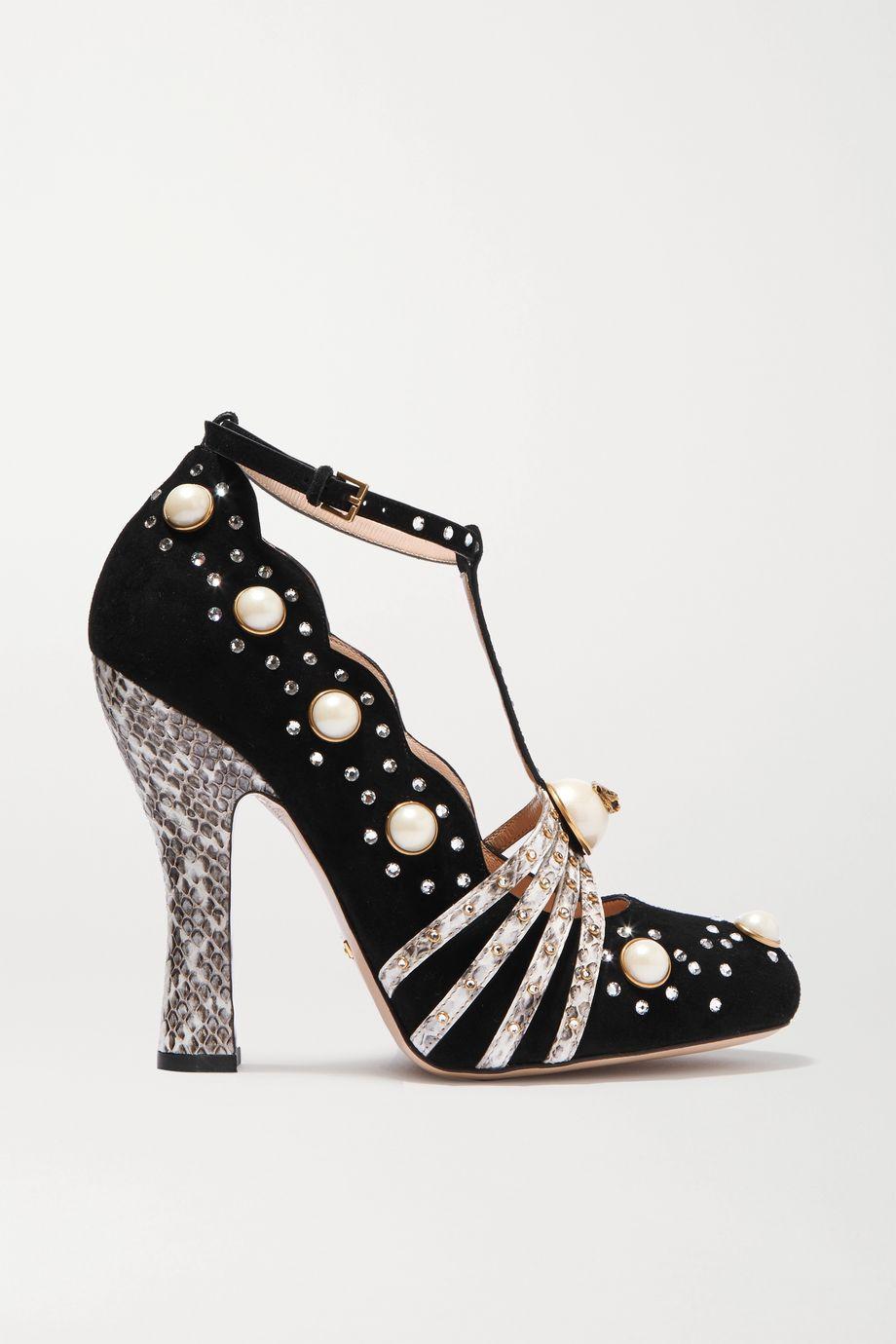 Gucci 带缀饰锦蛇皮边饰绒面革高跟鞋