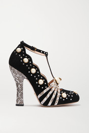 Embellished elaphe-trimmed suede pumps
