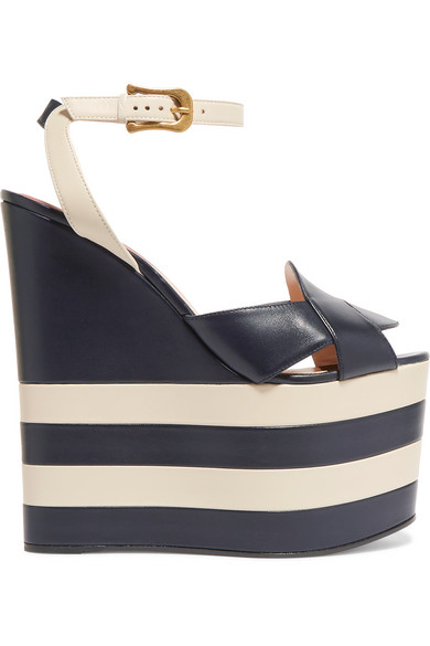 gucci female gucci twotone leather wedge sandals navy