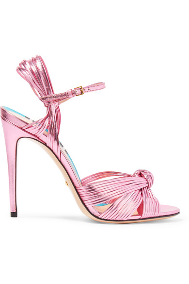 Gucci - Metallic Leather Sandals - Pink