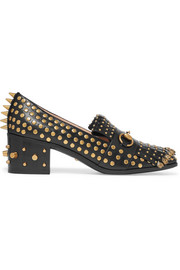 Horsebit-detailed fringed embellished leather loafers