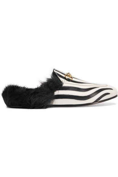 Gucci - Horsebit-detailed Shearling-lined Leather Slippers - Zebra print