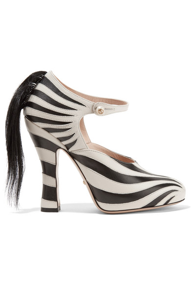 Gucci - Goat Hair-trimmed Leather Pumps - Zebra print