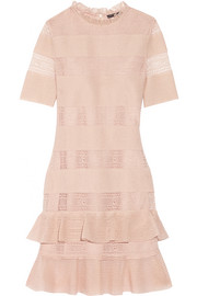 Alexander McQueen Ruffled lace-paneled metallic silk-blend mini dress