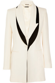 Satin-trimmed wool and silk-blend faille blazer