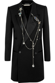 Alexander McQueen Embellished wool and silk-blend crepe blazer
