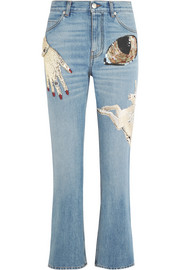Obsession embellished cropped high-rise slim-leg jeans