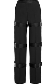 Alexander McQueen Buckled wool and silk-blend straight-leg pants