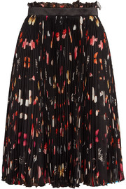 Pleated printed silk-chiffon skirt