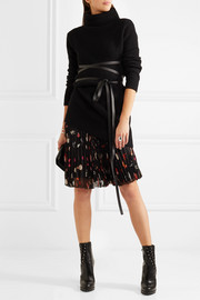Alexander McQueen Pleated printed silk-chiffon skirt