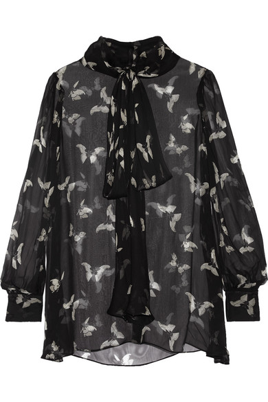 Alexander McQueen - Pussy-bow Printed Silk-crepon Blouse - Black