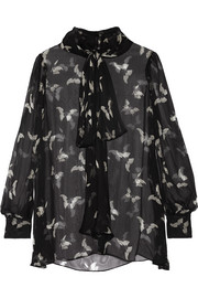 Alexander McQueen Pussy-bow printed silk-crepon blouse
