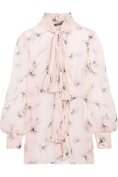 Alexander McQueen - Pussy-bow Printed Silk-crepon Blouse - Blush
