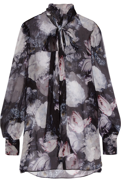 Alexander McQueen - Pussy-bow Floral-print Silk-crepon Blouse - Black