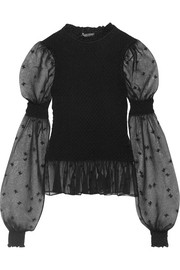 Alexander McQueen Embroidered smocked silk-blend tulle blouse