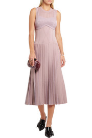 Bottega Veneta Pleated metallic wool-blend midi dress