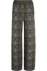 Bottega Veneta Plaid stretch-knit wide-leg pants