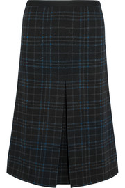 Bottega Veneta Metallic plaid stretch wool-blend midi skirt