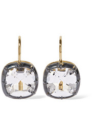 Fred Leighton Collection silver-plated, 18-karat gold and topaz earrings