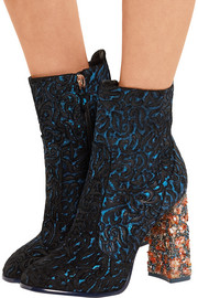 Kendra jacquard-effect leather and suede ankle boots