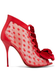 Sophia Webster Mitsy velvet-trimmed polka-dot tulle and leather boots