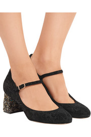 Renee jacquard-effect suede Mary Jane pumps