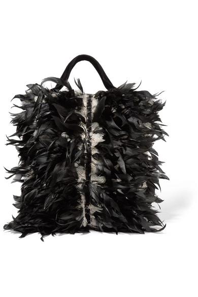 Sanayi313 - Cigno Feather-embellished Velvet Clutch - Black