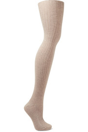 Ribbed cotton-blend over-the-knee socks
