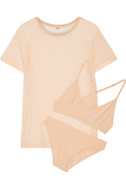 Bamboo-jersey T-Shirt, soft-cup bra and briefs set