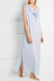 Copelia ruffled ribbed cotton nightdress