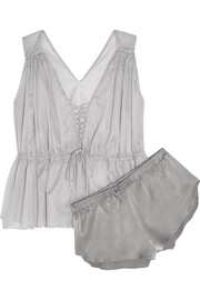 Medee Gasparo cotton-mousseline and silk pajama set