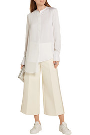DKNY Chiffon-paneled stretch-silk crepe de chine blouse