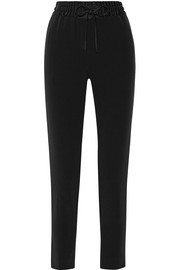 DKNY Satin-trimmed crepe tapered pants