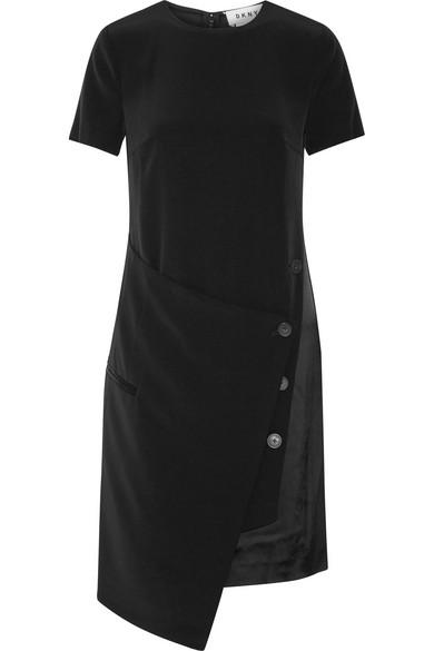 DKNY - Wrap-effect Faille Dress - Black