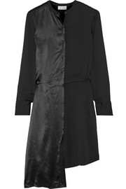 Asymmetric paneled crepe and satin shirt dress