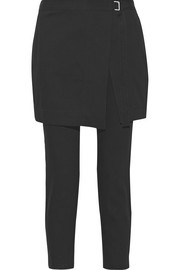 Cropped cotton and wool-blend gabardine pants