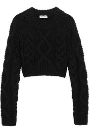 Open-back cable-knit merino wool sweater