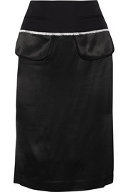 Wool twill-trimmed satin pencil skirt