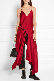 DKNY Asymmetric lace-up satin-crepe top