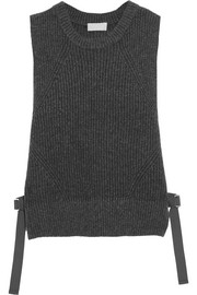 Tie-side ribbed wool-blend vest