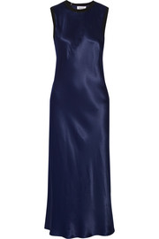 Merino wool-trimmed satin midi dress